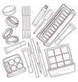sketch set of makeup products vector image vector image