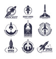 space logotypes rockets and flight shuttle moon vector image