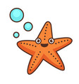 starfish funny character aquatic personage sea vector image