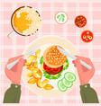 top view burger french fries and beer vector image