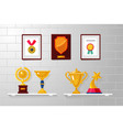 trophy and awards collection on a white wall vector image
