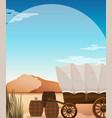 wagon and barrels in desert field vector image vector image