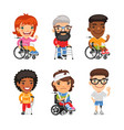 wheelchair users and injured people vector image vector image
