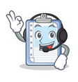 with headphone clipboard character cartoon style vector image
