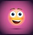 happy emoji smiley on purple background vector image