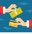 Human Hands with Card and Dollar - Exchange vector image