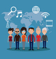 people communication network world vector image