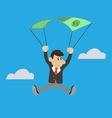 businessman uses the dollar as a parachute vector image