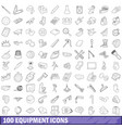 100 equipment icons set outline style vector image vector image