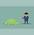 asian business man throwing dollars in big heap vector image