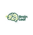 brain leaf tree natural logo icon vector image vector image