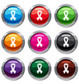 breast cancer awareness ribbon set 9 collection vector image vector image