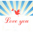 Bright graphics greeting card with a bird in love