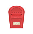 bright red wall mounted metal mailbox metal vector image vector image