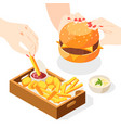 burger menu isometric composition vector image vector image