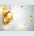 christmas background for holidays with gold balls vector image vector image