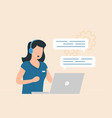 customer service woman with headphones vector image vector image