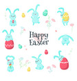 cute easter rabbits with eggs isolated vector image vector image