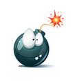 cute funny crazy - cartoon bomb character ahoh vector image