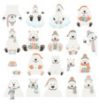 cute polar bear sticker set elements for vector image