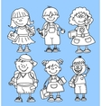 Cute School Girl and Boy Set vector image vector image