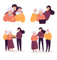 daughter helps her old parents birthday care vector image