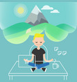 dealing with stress young character meditating in vector image vector image