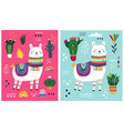 decorative cards with llama vector image vector image