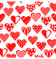 decorative hearts pattern seamless for valentines vector image