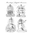 design set old medieval lighthouses isolated vector image