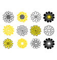 flower head icon set daisy sunflower and vector image vector image