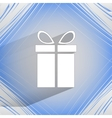 gift web icon on a flat geometric abstract vector image