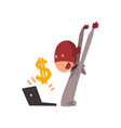hacker in mask stealing money using laptop vector image vector image