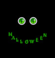 halloween card green predatory monster eyes and vector image vector image