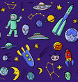 hand drawn doodle space seamless pattern vector image