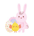 happy easter cute rabbit and chicken egg flower vector image vector image
