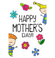 happy mother day postcard on white background vector image vector image