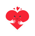 heart in love concept cute heart character vector image vector image