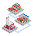 isometric waste processing plant technological vector image