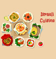 israeli cuisine traditional dinner dishes icon vector image vector image