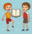 kids with education icons vector image