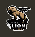 lion king of beasts logo emblem on a dark vector image vector image
