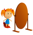 little girl with mirror vector image vector image