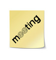 meeting lettering sticky note template vector image vector image