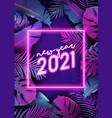 new year neon tropic design disco tropical party vector image vector image