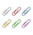 paper clip office design isolated on white vector image vector image
