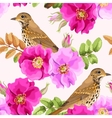 Seamless dog-rose and bird vector image vector image
