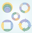 Set of 5 pie charts in a flat style with icons of vector image