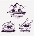 set of kayaking templates for labels emblems vector image vector image