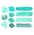 set of mint watercolor on white background vector image vector image
